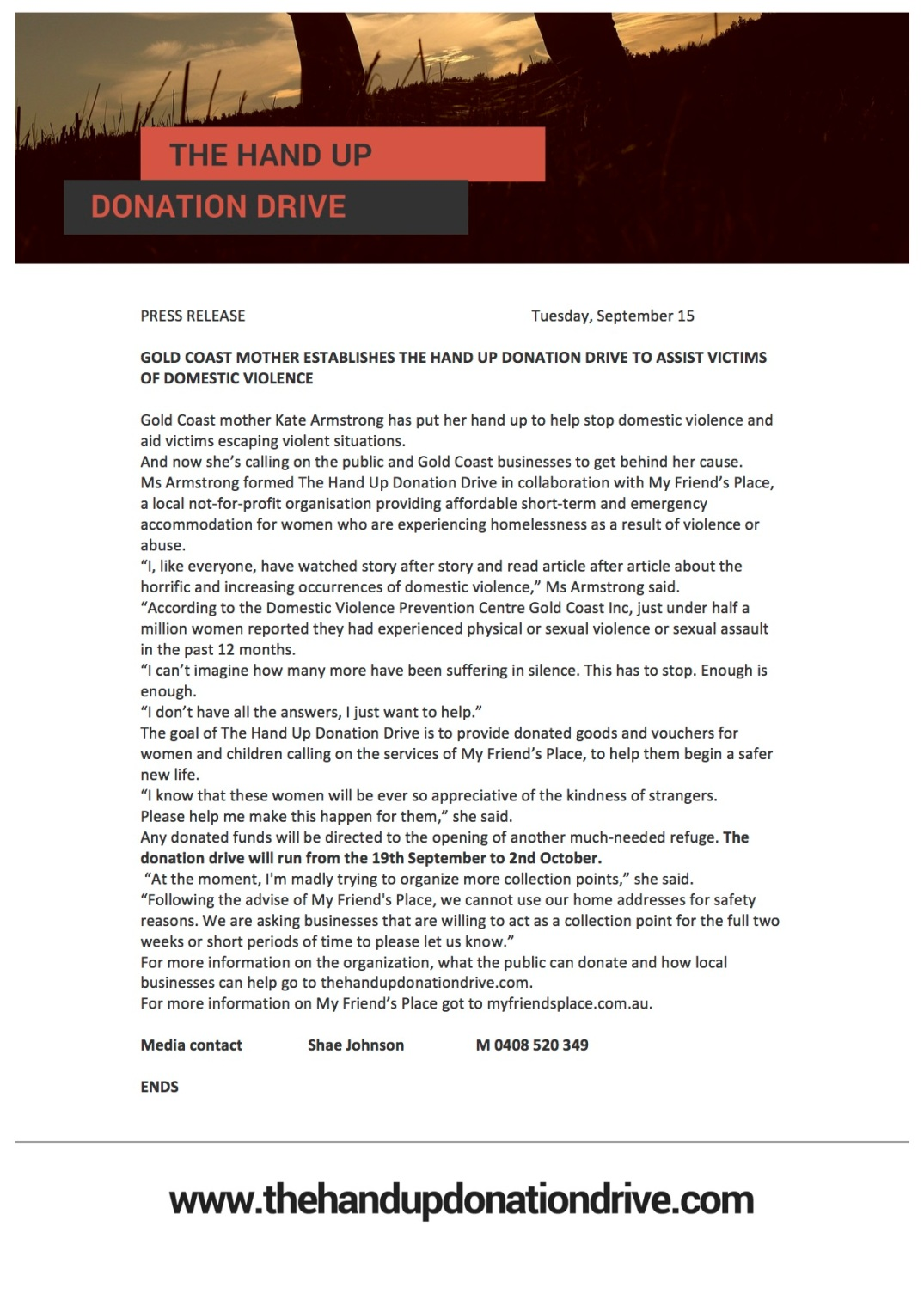 The Hand Up Donation Drive Press Release